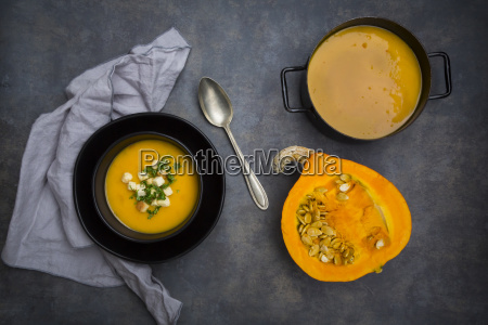 soup dish of creamed pumpkin soup