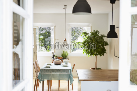 bright modern kitchen and dining room