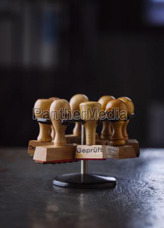 rubber stamp on stamp rack