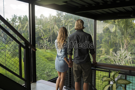 couple looking at stunning view through