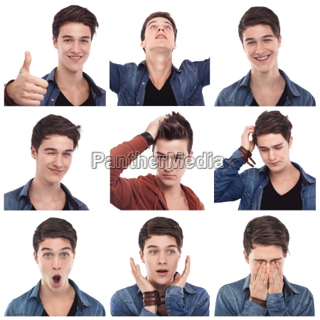 young, man, multiple, expressions - 23561886