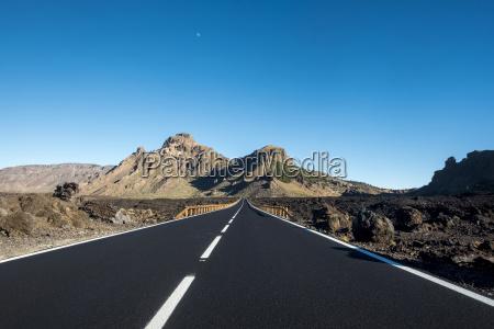 spain tenerife el teide empty road