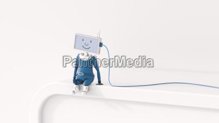 3d rendering figurine charging artificial intelligence