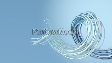 3d rendering swirl on blue background