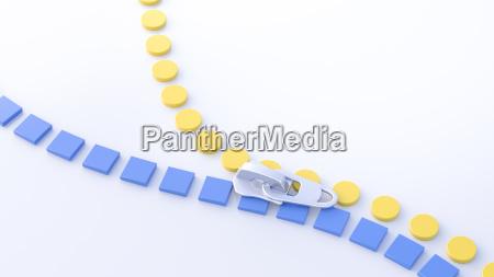 3d illustration zipper yellow circles and
