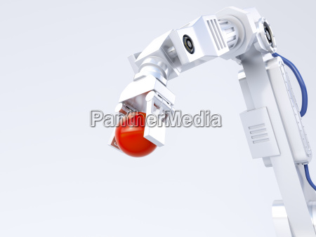 3d rendering robot arm holding red