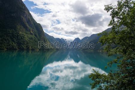lake at briksdalsbreen sogn og fjordane