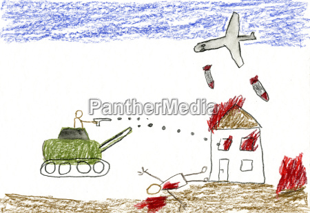 childrens drawing of war