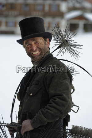 germany portrait of chimney sweep with