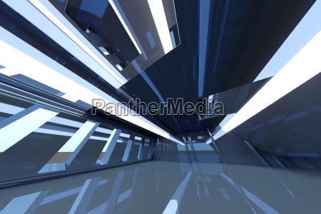 blue futuristic room 3d rendering