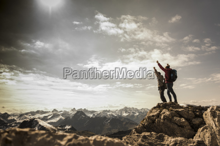 germany, , bavaria, , oberstdorf, , two, hikers, cheering - 23571904