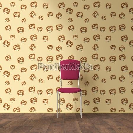 wallpaper with pretzel pattern single chair