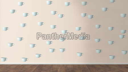 wallpaper with cup pattern and wooden