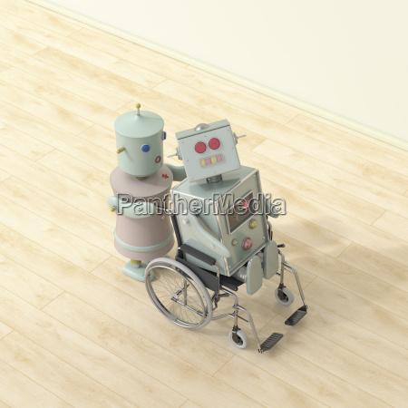 female robot pushing male robot sitting