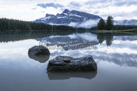 mount rundle reflecting in water of