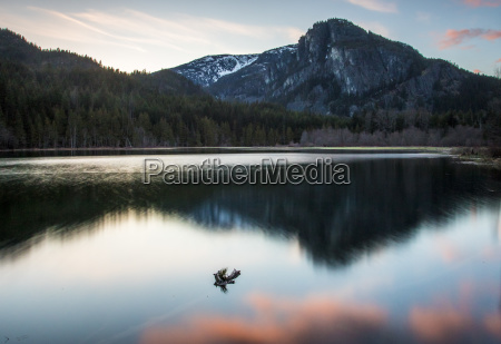 scenery of shadow lake at sunset