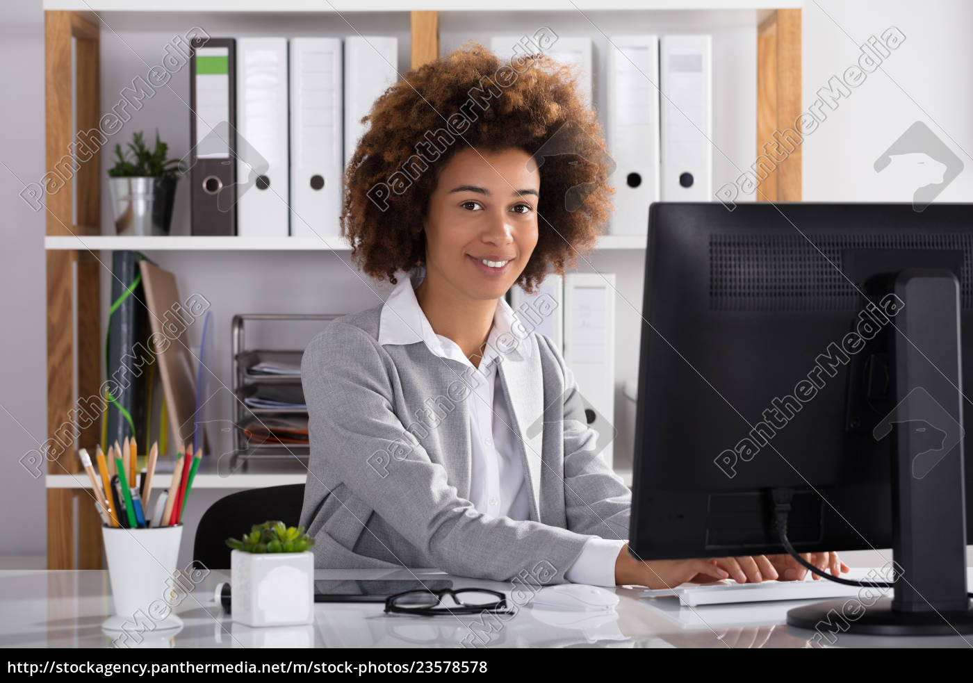 happy, businesswoman, in, office - 23578578