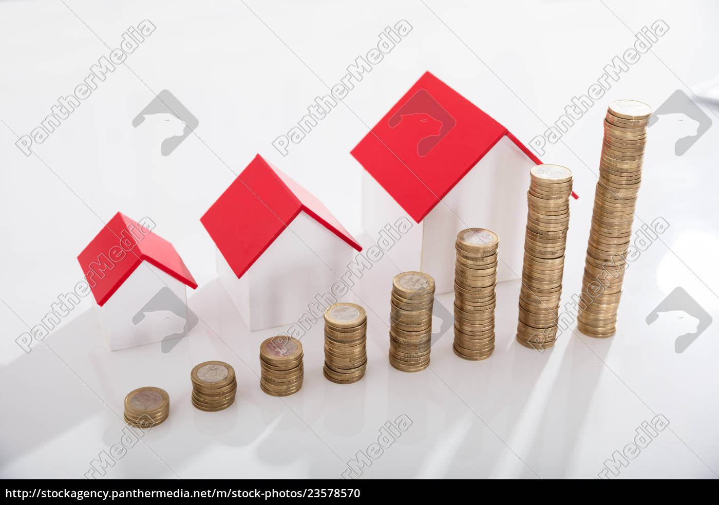 house, models, and, stack, of, coins - 23578570