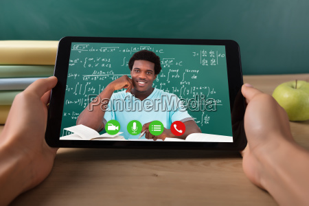 student, video, conferencing, with, teacher, on - 23578388