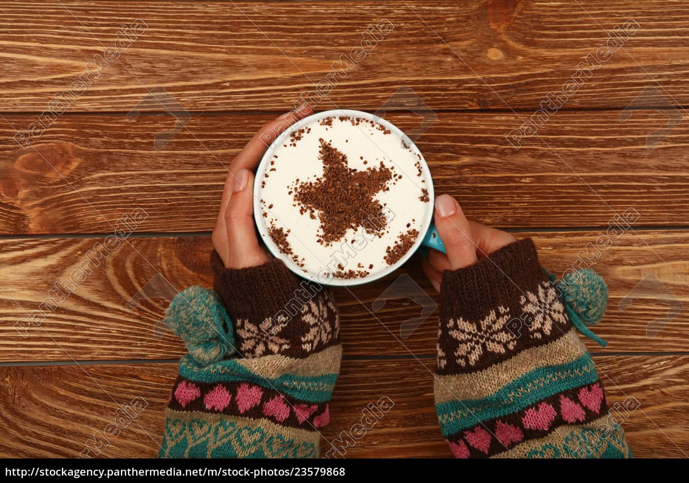 woman, hands, hold, full, latte, cappuccino - 23579868