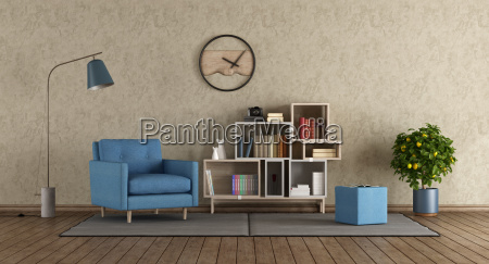 blue, armchair, in, modern, lounge - 23583670