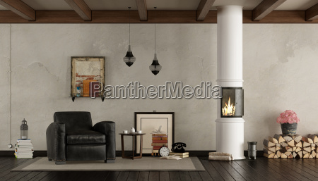 retro, living, room, with, wood, stove - 23583636