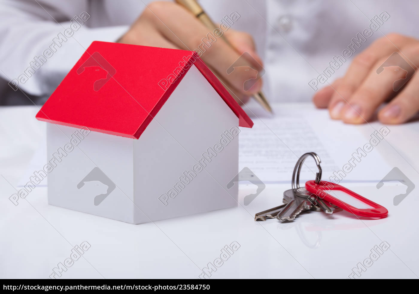businessman, calculating, house, costs, with, house - 23584750