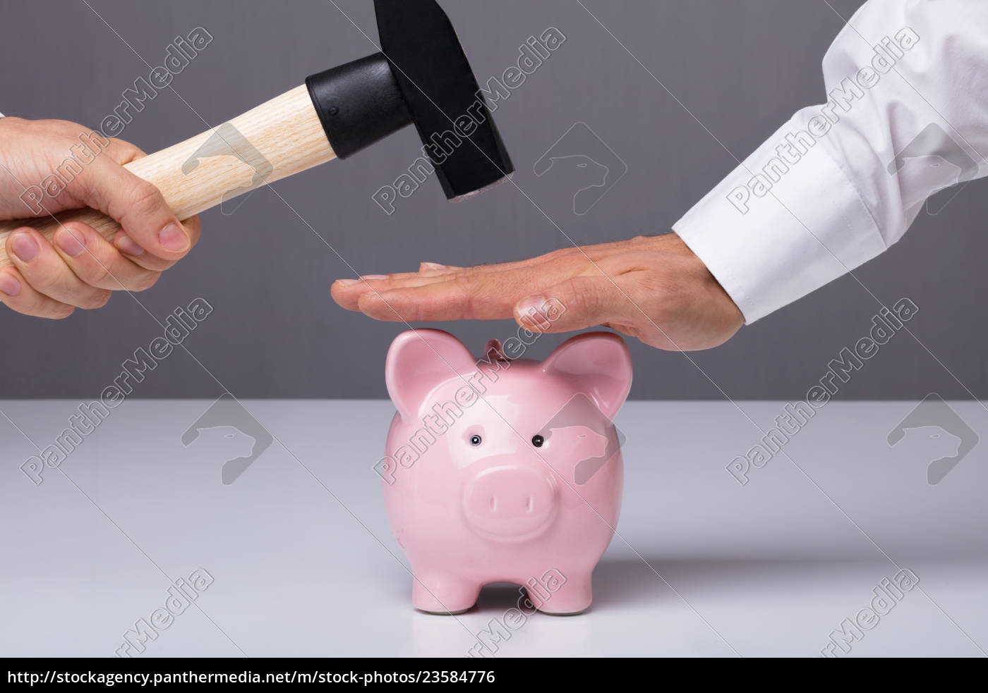 businessman's, hand, saving, piggybank - 23584776