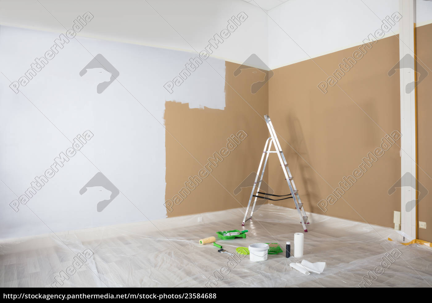 half, painted, white, wall, with, ladder - 23584688