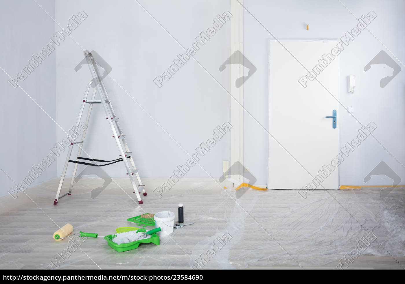 painted, white, room, with, ladder, and - 23584690