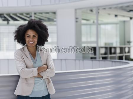 portrait smiling confident businesswoman with arms