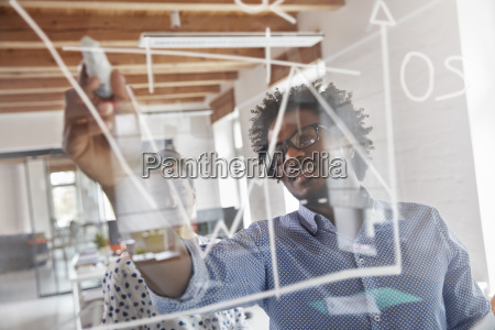business people drawing graph on window