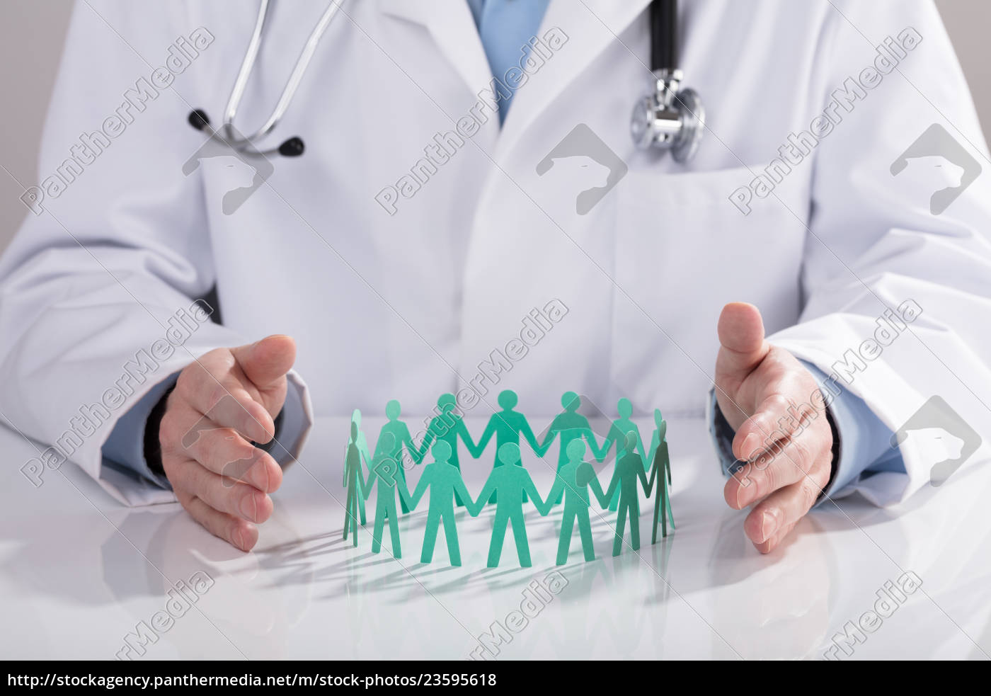 doctor, protecting, paper, cut, out, figures - 23595618