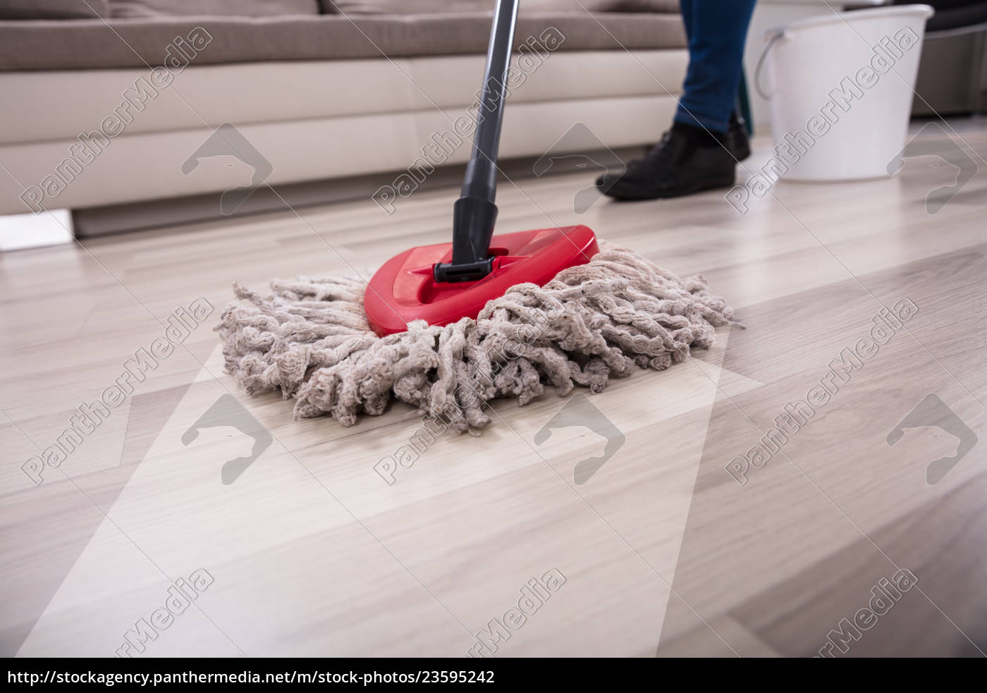 person, cleaning, floor, with, mop - 23595242