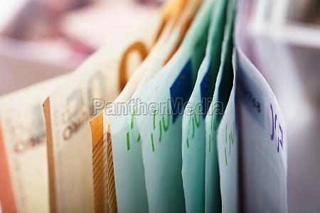 close up of euro banknotes