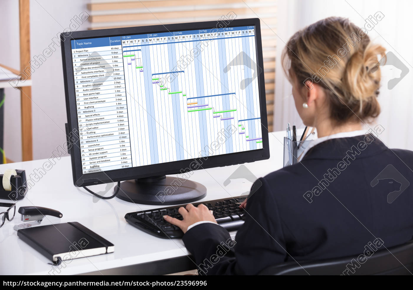 businesswoman, analyzing, gantt, chart, on, computer - 23596996