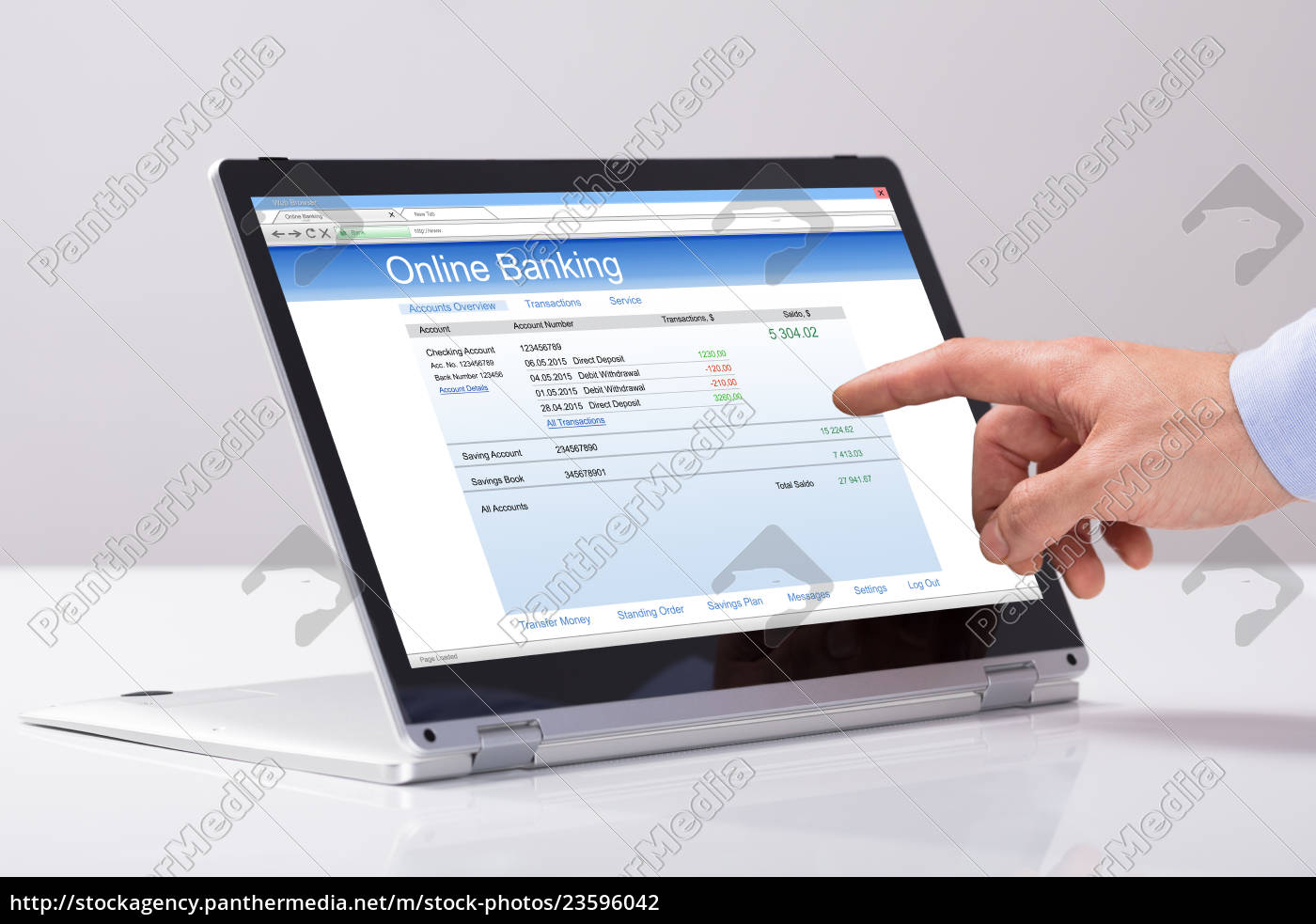 male's, hand, using, online, banking, on - 23596042