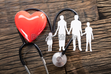 family cut out and red heart