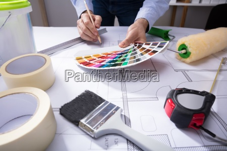 architect, using, color, guide, swatch, while - 23597868