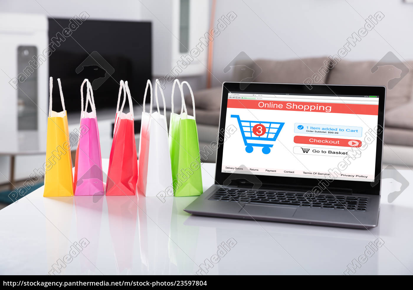 laptop, with, online, shopping, website, on - 23597804