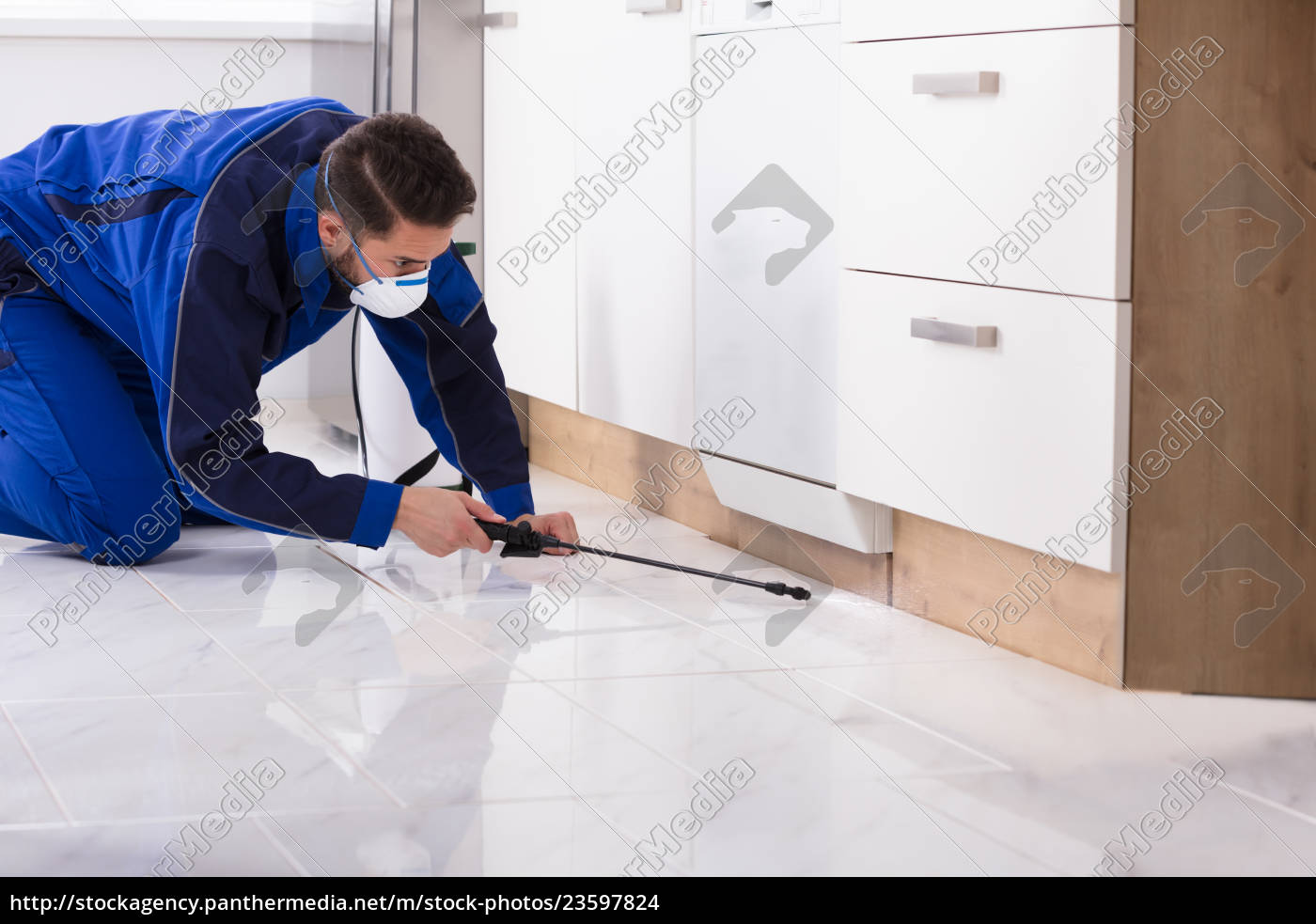 man, spraying, pesticide, in, kitchen - 23597824