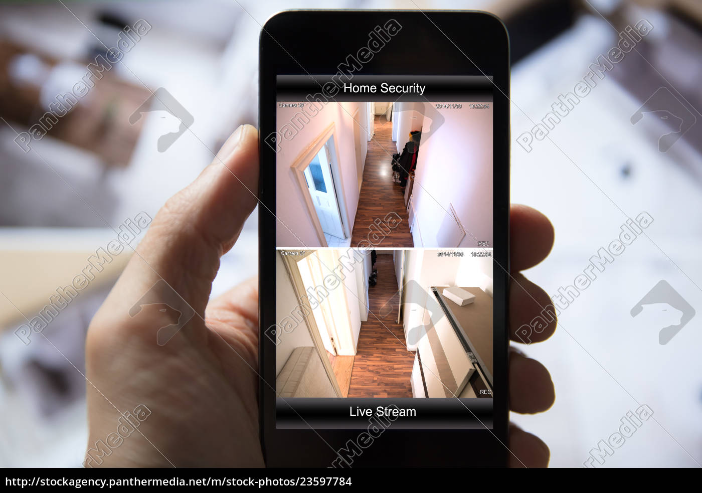 person, using, home, security, system, on - 23597784