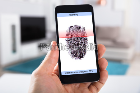 person, with, mobile, phone, scanning, fingerprint - 23597934