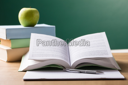 school, textbook, on, desk - 23597950