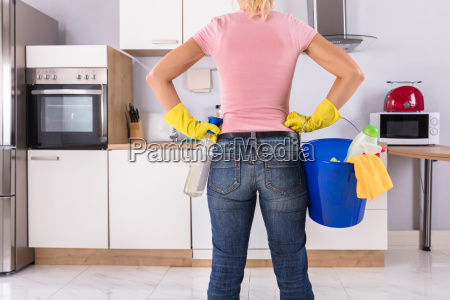 woman, holding, cleaning, tools, and, products - 23597068