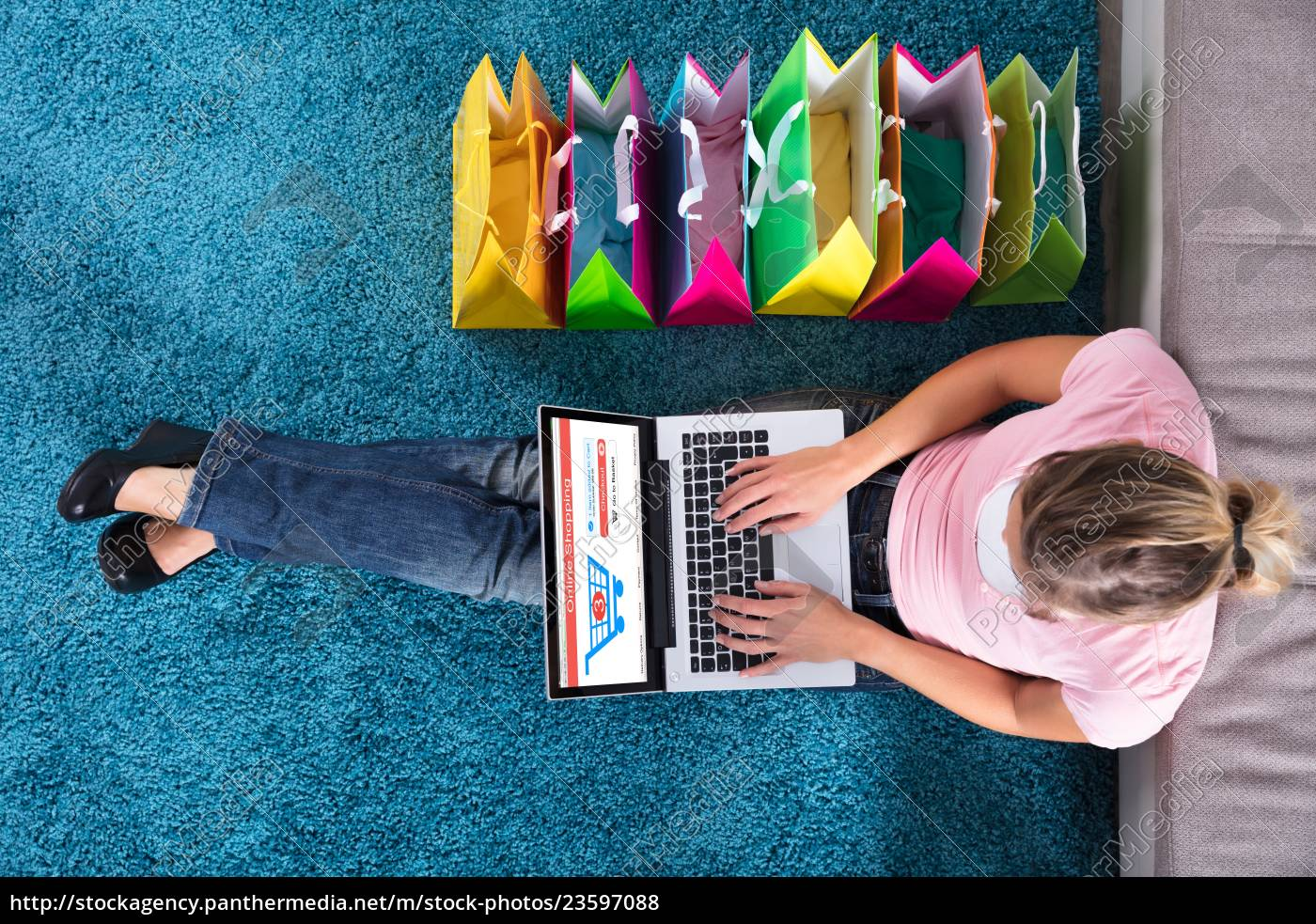 woman, sitting, on, carpet, and, shopping - 23597088
