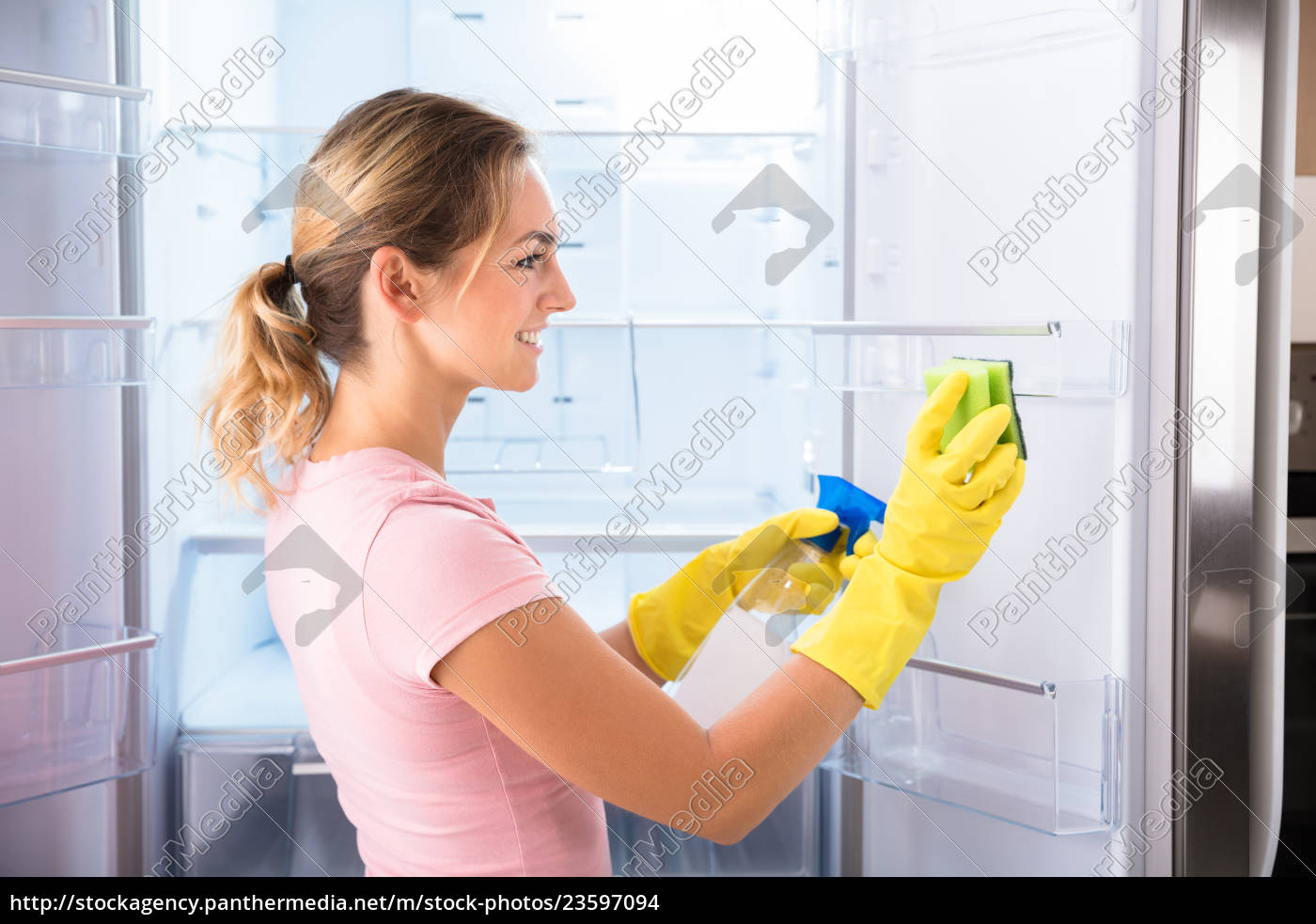 woman, wearing, gloves, cleaning, refrigerator - 23597094