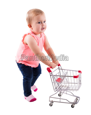 baby, girl, holding, small, shopping, cart - 23599876