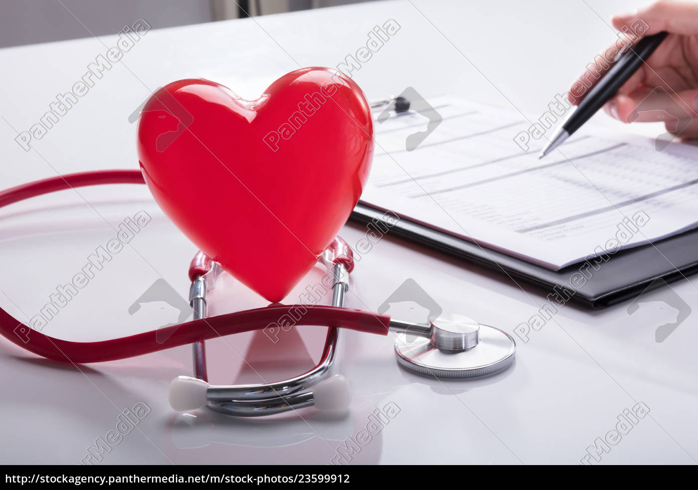 close-up, of, stethoscope, and, red, heart - 23599912