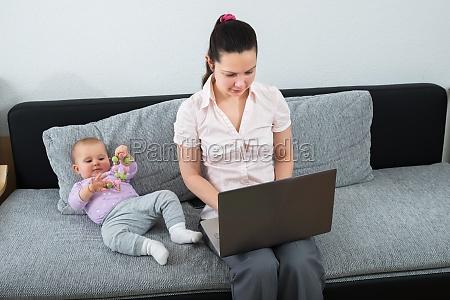 woman, using, laptop - 23599868